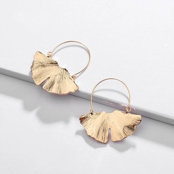 Anthro Golden Ginkgo Hoop Earrings